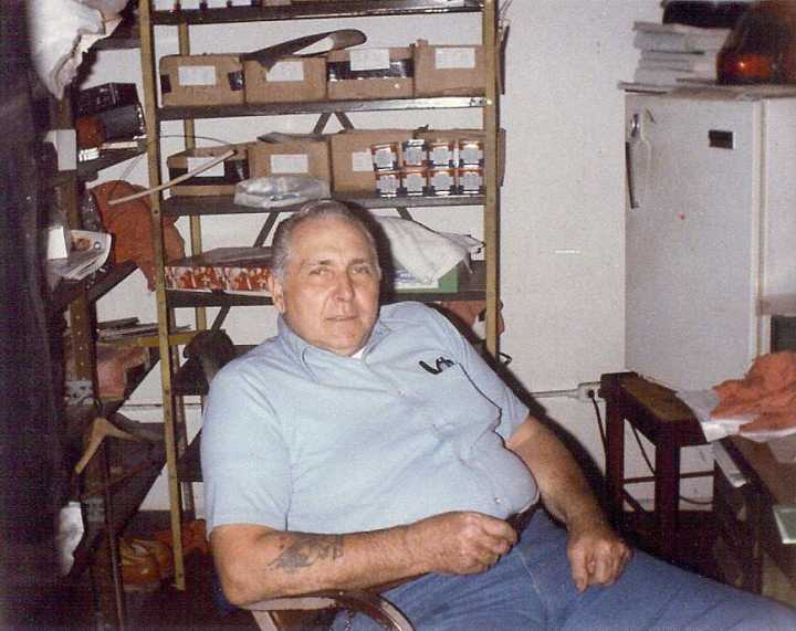 Forrest Fernaays in his Titusville Motorcycles shop